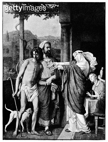 The Return of the Prodigal Son (Le Retour de L'enfant Prodigue) by Marc Gabriel Charles Gleyre - (circa 19th century). Vintage etching circa late 19th century. - gettyimageskorea