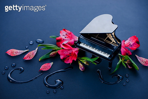 Tiny piano with flowers and water drops, the music of nature concept with copy space - gettyimageskorea