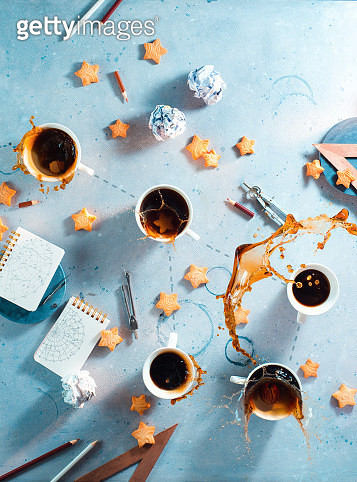 Coffee flat lay, flying fish constellation, creative drink photography with a splash - gettyimageskorea