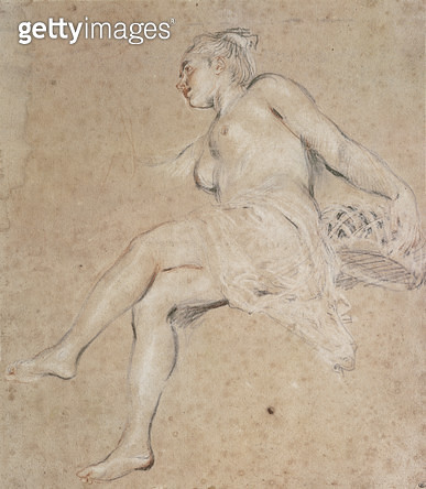 <b>Title</b> : Flora, c.1716 (chalk on paper)Additional Infostudy for the figure of Spring for the dining room of Hotel Crozat;<br><b>Medium</b> : chalk on paper<br><b>Location</b> : Louvre, Paris, France<br> - gettyimageskorea