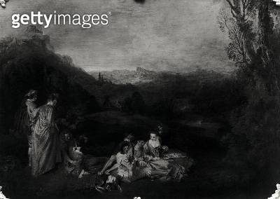 <b>Title</b> : Peaceful Love, c.1718-19 (oil on canvas) (b/w photo)<br><b>Medium</b> : oil on canvas<br><b>Location</b> : Schloss Charlottenburg, Berlin, Germany<br> - gettyimageskorea