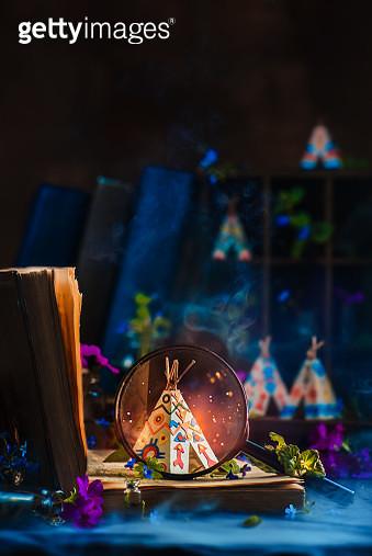 Indian teepee on a book, tiny world concept, hidden folks fairy tale concept, creative still - gettyimageskorea