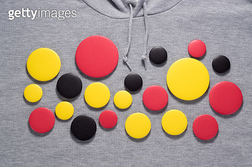 Button Badges on Gray Shirt - gettyimageskorea