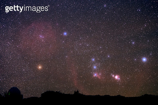 Constellation Orion with its vast nebulosity rises in the sky. - gettyimageskorea