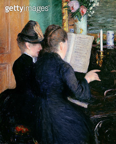 <b>Title</b> : The Piano Lesson, 1881 (oil on canvas)<br><b>Medium</b> : oil on canvas<br><b>Location</b> : Musee Marmottan, Paris, France<br> - gettyimageskorea