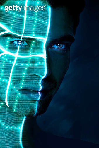 half of a man's face lit with laser beams & light - gettyimageskorea