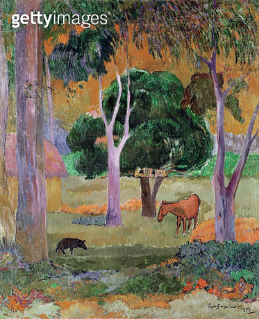 <b>Title</b> : Dominican Landscape or, Landscape with a Pig and Horse, 1903 (oil on canvas)<br><b>Medium</b> : oil on canvas<br><b>Location</b> : Museum of Finnish Art, Ateneum, Helsinki, Finland<br> - gettyimageskorea