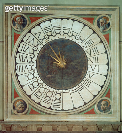 <b>Title</b> : Canonical clock with the heads of four prophets, completed 1443 (fresco)Additional Infouses hora italica method of counting the<br><b>Medium</b> : fresco<br><b>Location</b> : Duomo, Florence, Italy<br> - gettyimageskorea