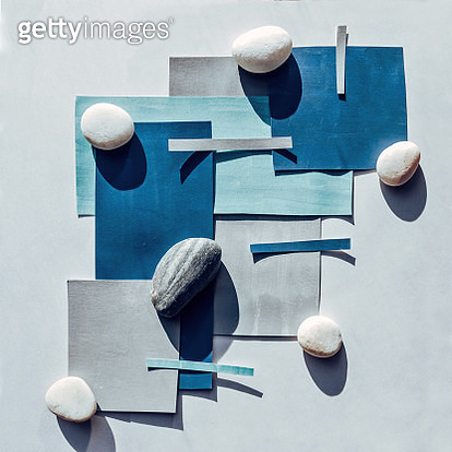 Blue Gray Paper and Stones Collage. Geometric Pattern - gettyimageskorea