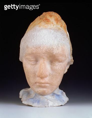 <b>Title</b> : Head of Camille Claudel, 1911 (pate de verre)<br><b>Medium</b> : pate de verre<br><b>Location</b> : Private Collection<br> - gettyimageskorea