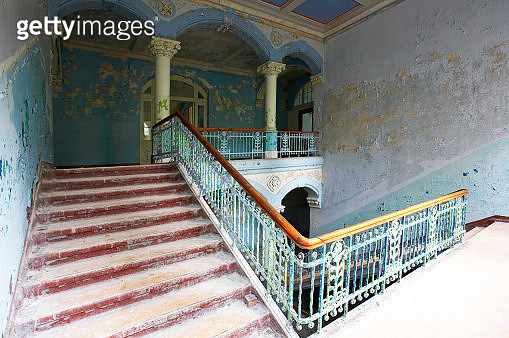 Staircase in an abandoned building (building meanwhile demolished) - gettyimageskorea