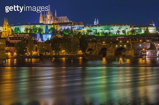 Prague skyline in the night - gettyimageskorea