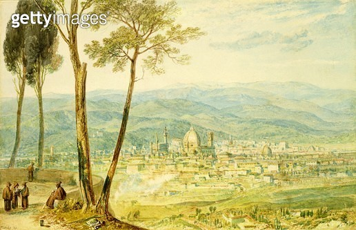 <b>Title</b> : Florence from the road to Fiesole (w/c)<br><b>Medium</b> : watercolour on paper<br><b>Location</b> : Agnew & Sons, London<br> - gettyimageskorea