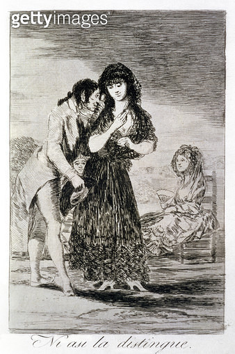 <b>Title</b> : 193-0082107 Even thus he cannot make her out, plate 7 of 'Los caprichos', pub. 1799 (etching)<br><b>Medium</b> : etching, aquatint and drypoint<br><b>Location</b> : Private Collection<br> - gettyimageskorea
