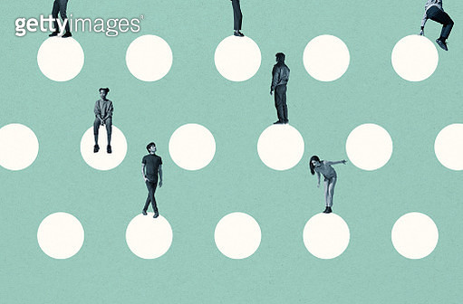 Young multi-ethnic friends on white circles - gettyimageskorea