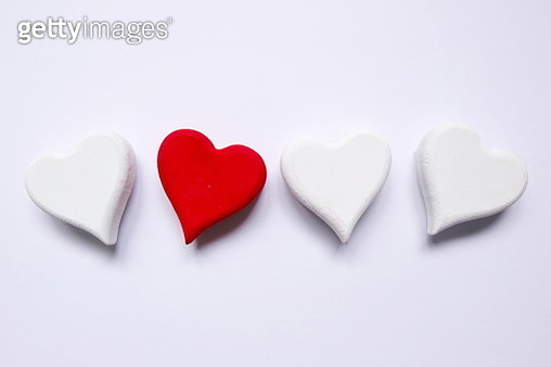 Directly Above Shot Of Heart Shapes On Gray Background - gettyimageskorea