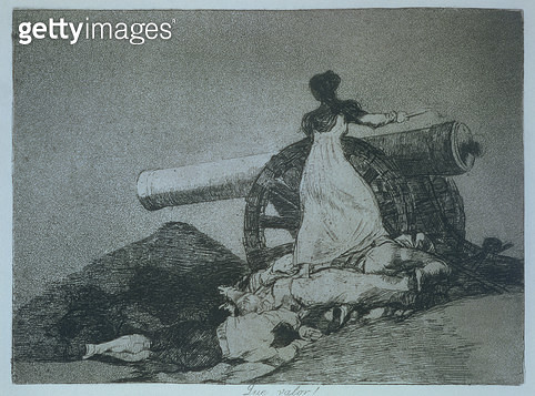 <b>Title</b> : 193-0082188 What courage!, plate 7 of 'The Disasters of War', depicting Augustina of Aragon (d.1857) firing a cannon in defence<br><b>Medium</b> : <br><b>Location</b> : Private Collection<br> - gettyimageskorea