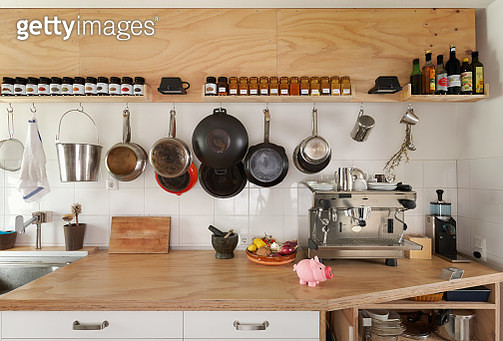 Counter space and cooking utensils in modern kitchen - gettyimageskorea