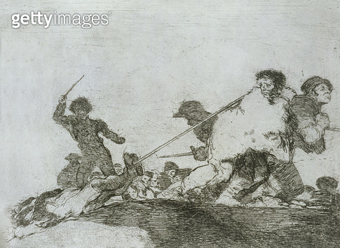 <b>Title</b> : He deserved it, plate 29 of 'The Disasters of War', 1810-14, pub. 1863 (etching)Additional InfoLos desastres de la guerra;<br><b>Medium</b> : etching, drypoint, burin and burnisher<br><b>Location</b> : Private Collection<br> - gettyimageskorea