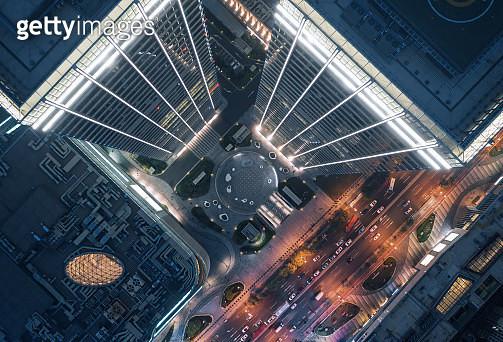 Aerial view of skyscraper - gettyimageskorea