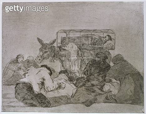 <b>Title</b> : Strange devotion!, plate 66 of 'The Disasters of War', 1810-14, pub. 1863 (etching)Additional InfoLos desastres de la guerra;<br><b>Medium</b> : etching, burnished aquatint, lavis and burnisher<br><b>Location</b> : Private Collection<br> - gettyimageskorea