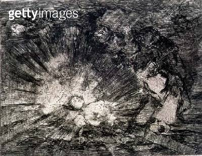 <b>Title</b> : Will she rise again?, plate 80 of 'The Disasters of War', 1810-14, pub. 1863 (etching)Additional InfoLos desastres de la guerra;<br><b>Medium</b> : etching and burnisher<br><b>Location</b> : Private Collection<br> - gettyimageskorea