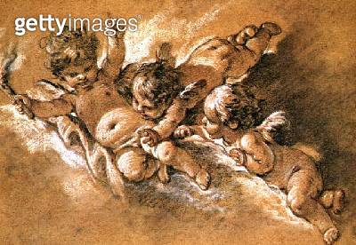 <b>Title</b> : Three putti in clouds (chalk)<br><b>Medium</b> : black, red and white chalks on buff paper<br><b>Location</b> : Private Collection<br> - gettyimageskorea