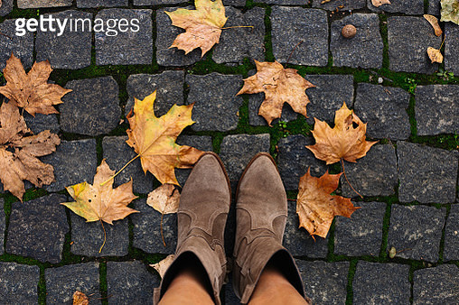 Conceptual image of legs in boots on the autumn leaves. - gettyimageskorea