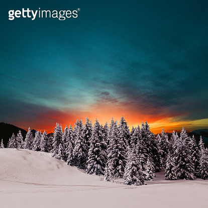 Winter sunset in the mountains - gettyimageskorea
