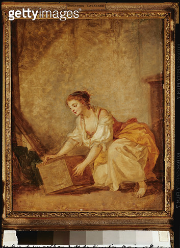 <b>Title</b> : A Young Girl Lifting a Chest (oil on canvas)Additional InfoJeune Fille Soulevant un Coffre;<br><b>Medium</b> : <br><b>Location</b> : Musee de Picardie, Amiens, France<br> - gettyimageskorea