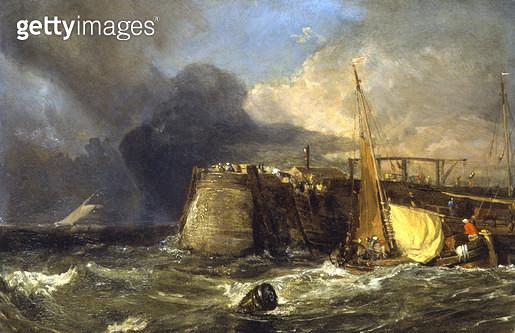 <b>Title</b> : Old Margate Pier (panel)<br><b>Medium</b> : oil on panel<br><b>Location</b> : Agnew & Sons, London<br> - gettyimageskorea