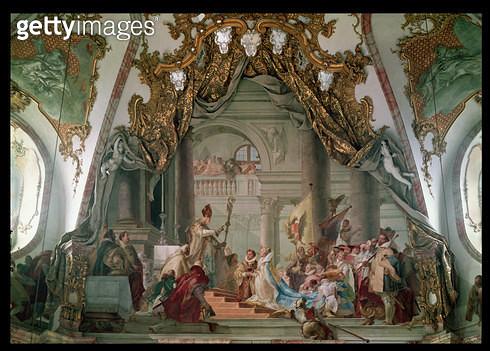 <b>Title</b> : Marriage of Frederick I (c.1123-90) Barbarossa and Beatrice I (1145-84) of Burgundy in 1156 (fresco)<br><b>Medium</b> : fresco<br><b>Location</b> : Residenz, Wurzburg, Germany<br> - gettyimageskorea