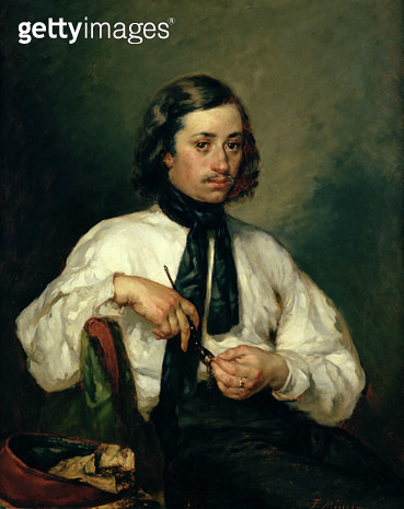 <b>Title</b> : Portrait of Armand Ono, known as The Man with the Pipe, 1843 (oil on canvas)<br><b>Medium</b> : oil on canvas<br><b>Location</b> : Musee d'Art Thomas Henry, Cherbourg, France<br> - gettyimageskorea