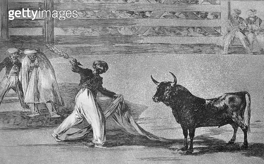 <b>Title</b> : Origin of the harpoons or banderillas, plate 7 of 'The Art of Bullfighting', pub. 1816 (etching)<br><b>Medium</b> : etching, burnished aquatint and drypoint<br><b>Location</b> : Private Collection<br> - gettyimageskorea