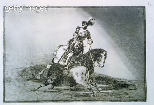 <b>Title</b> : Charles V, Holy Roman Emperor and King of Spain as Charles I (1500-58) spearing a bull in the ring at Valladolid, plate 10 of 'T<br><b>Medium</b> : etching, burnished aquatint, drypoint and burin<br><b>Location</b> : Private Collection<br> - gettyimageskorea