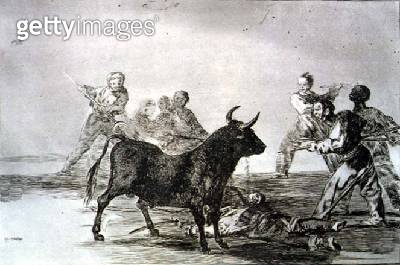 <b>Title</b> : The rabble hamstring the bull with lances, sickles, banderillas and other arms, plate 12 of 'The Art of Bullfighting', pub. 1816<br><b>Medium</b> : etching, aquatint and drypoint<br><b>Location</b> : Private Collection<br> - gettyimageskorea