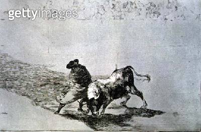 <b>Title</b> : The very skilful 'student of Falces' (b.1709) wrapped in his cape, tricks the bull with the play of his body, plate 14 of 'The A<br><b>Medium</b> : etching, aquatint and drypoint<br><b>Location</b> : Private Collection<br> - gettyimageskorea