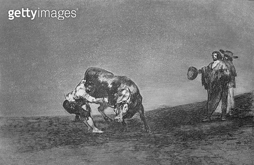 <b>Title</b> : The same man (Martincho, probably Antonio Ebassum) throws a bull in the ring at Madrid, plate 16 of 'The Art of Bullfighting', p<br><b>Medium</b> : etching, burnished aquatint, drypoint and burin<br><b>Location</b> : Private Collection<br> - gettyimageskorea