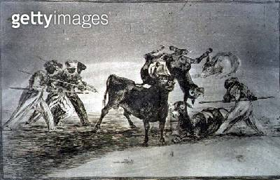 <b>Title</b> : The Moors use donkeys as a barrier to defend themselves against the bull, whose horns have been tipped with balls, plate 17 of '<br><b>Medium</b> : etching, aquatint, drypoint and burin<br><b>Location</b> : Private Collection<br> - gettyimageskorea