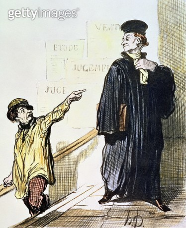 <b>Title</b> : An Unsatisfied Client, from the series 'Les Gens de Justice', c.1846 (colour litho)<br><b>Medium</b> : colour lithograph<br><b>Location</b> : Private Collection<br> - gettyimageskorea