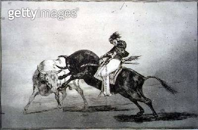 <b>Title</b> : The same Mariano Ceballos, mounted on a bull, breaks short spears in the ring at Madrid, plate 24 of 'The Art of Bullfighting',<br><b>Medium</b> : etching, burnished aquatint, drypoint and burin<br><b>Location</b> : Private Collection<br> - gettyimageskorea