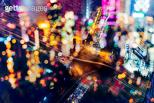 aerial view downtown of shanghai at night - gettyimageskorea