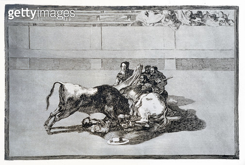 <b>Title</b> : A picador is unhorsed and falls under the bull, plate 26 of 'The Art of Bullfighting', pub. 1816 (etching)<br><b>Medium</b> : etching, aquatint and drypoint<br><b>Location</b> : Private Collection<br> - gettyimageskorea