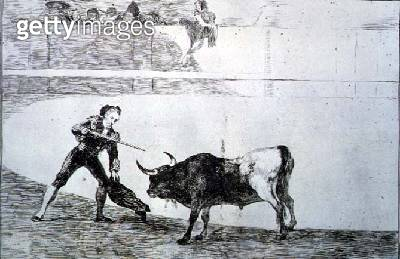 <b>Title</b> : Pedro Romero killing the halted bull, plate 30 of 'The Art of Bullfighting', pub. 1816 (etching)<br><b>Medium</b> : etching, aquatint, drypoint and burin<br><b>Location</b> : Private Collection<br> - gettyimageskorea