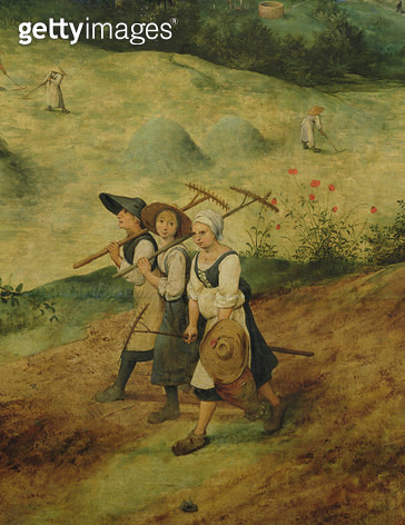 <b>Title</b> : Haymaking, detail of three female harvesters, 1565 (oil on panel) (detail of 81960)<br><b>Medium</b> : <br><b>Location</b> : Lobkowicz Collections, Nelahozeves Castle, Czech Republic<br> - gettyimageskorea