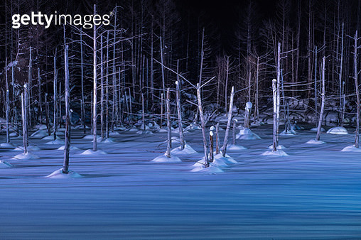 The Light-up Shirogane Blue Pond in Winter season, Hokkaido, Japan - gettyimageskorea