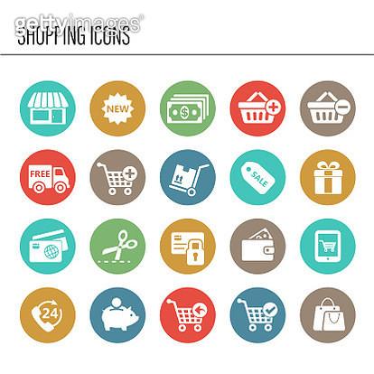 Shopping icon set - gettyimageskorea