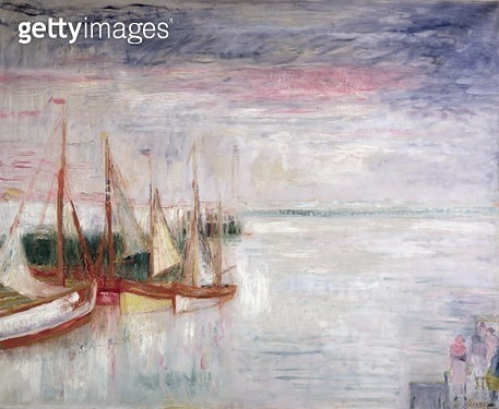 <b>Title</b> : The Port of Ostend (oil on canvas)<br><b>Medium</b> : <br><b>Location</b> : Private Collection<br> - gettyimageskorea