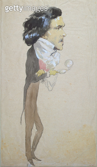 <b>Title</b> : Caricature of Eugene Delacroix (1798-1863) (w/c, pencil & gouache on paper)<br><b>Medium</b> : watercolour, pencil & gouache on paper<br><b>Location</b> : Musee de la Ville de Paris, Musee Carnavalet, Paris, France<br> - gettyimageskorea