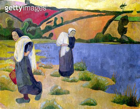 <b>Title</b> : Washerwomen at the Laita River, near Pouldu, 1892 (oil on canvas)<br><b>Medium</b> : oil on canvas<br><b>Location</b> : Musee d'Orsay, Paris, France<br> - gettyimageskorea